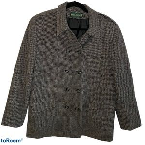 Harve Benard Double Breasted Elbow Patch Blazer